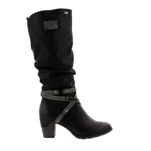 🔥Rieker🔥 | Black/Grey high boots with heel and straps